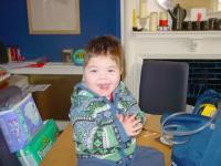 Max in his birthday cardi