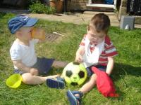 Max and Luca in the garden