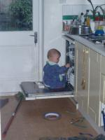 Luca in the dishwasher
